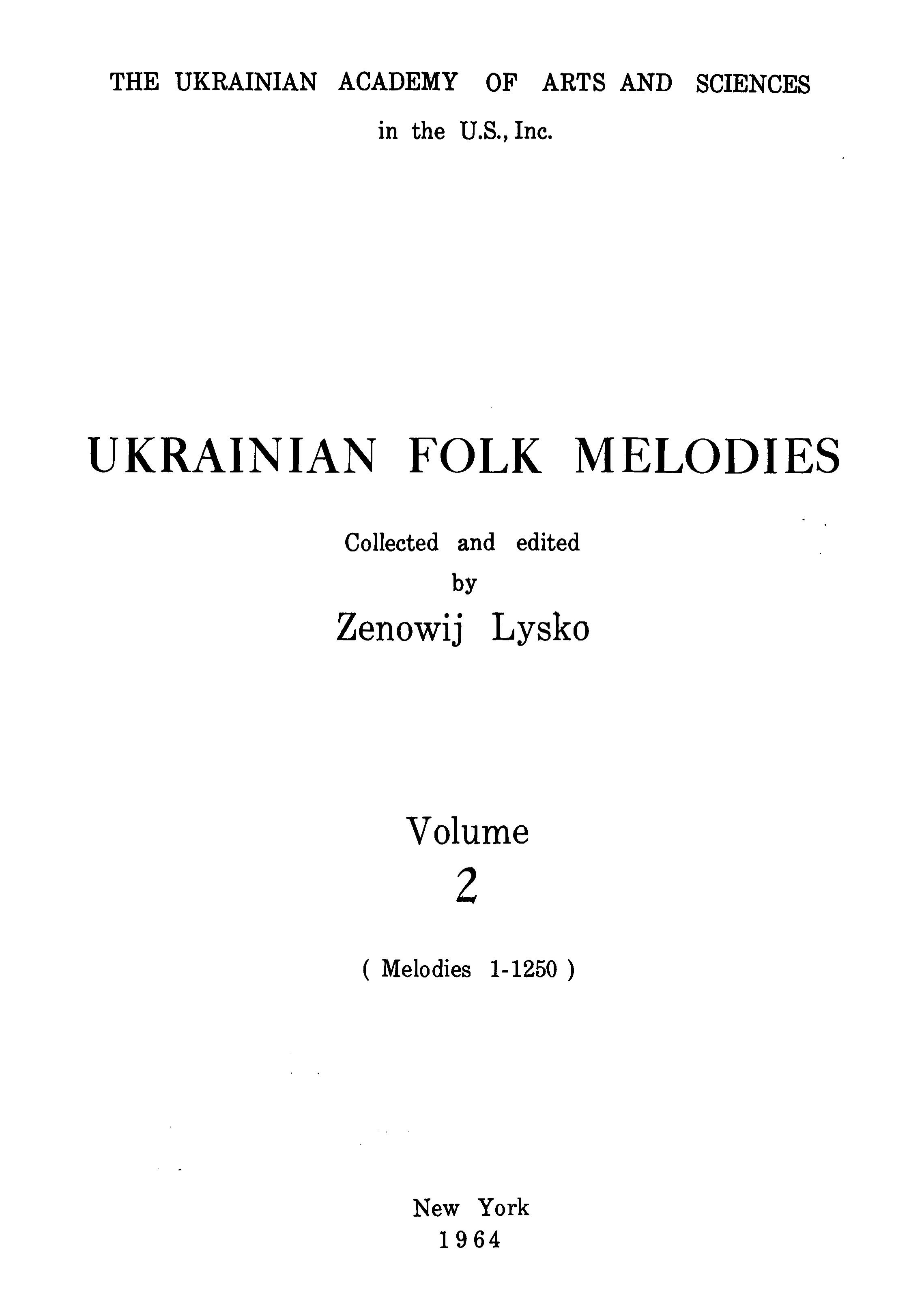 Ukrainian Folk Melodies , Vol.2