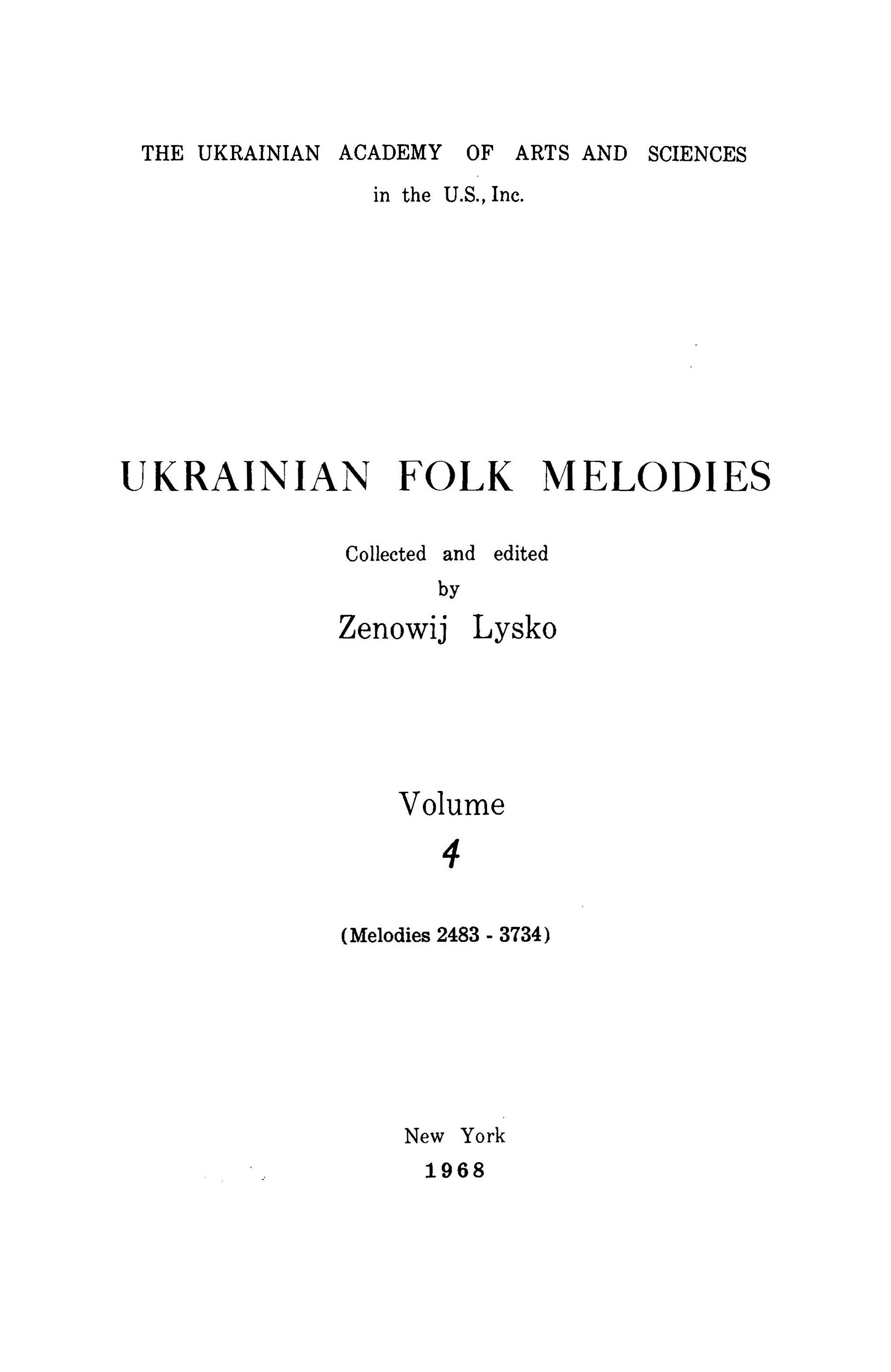 Ukrainian Folk Songs Volume 4