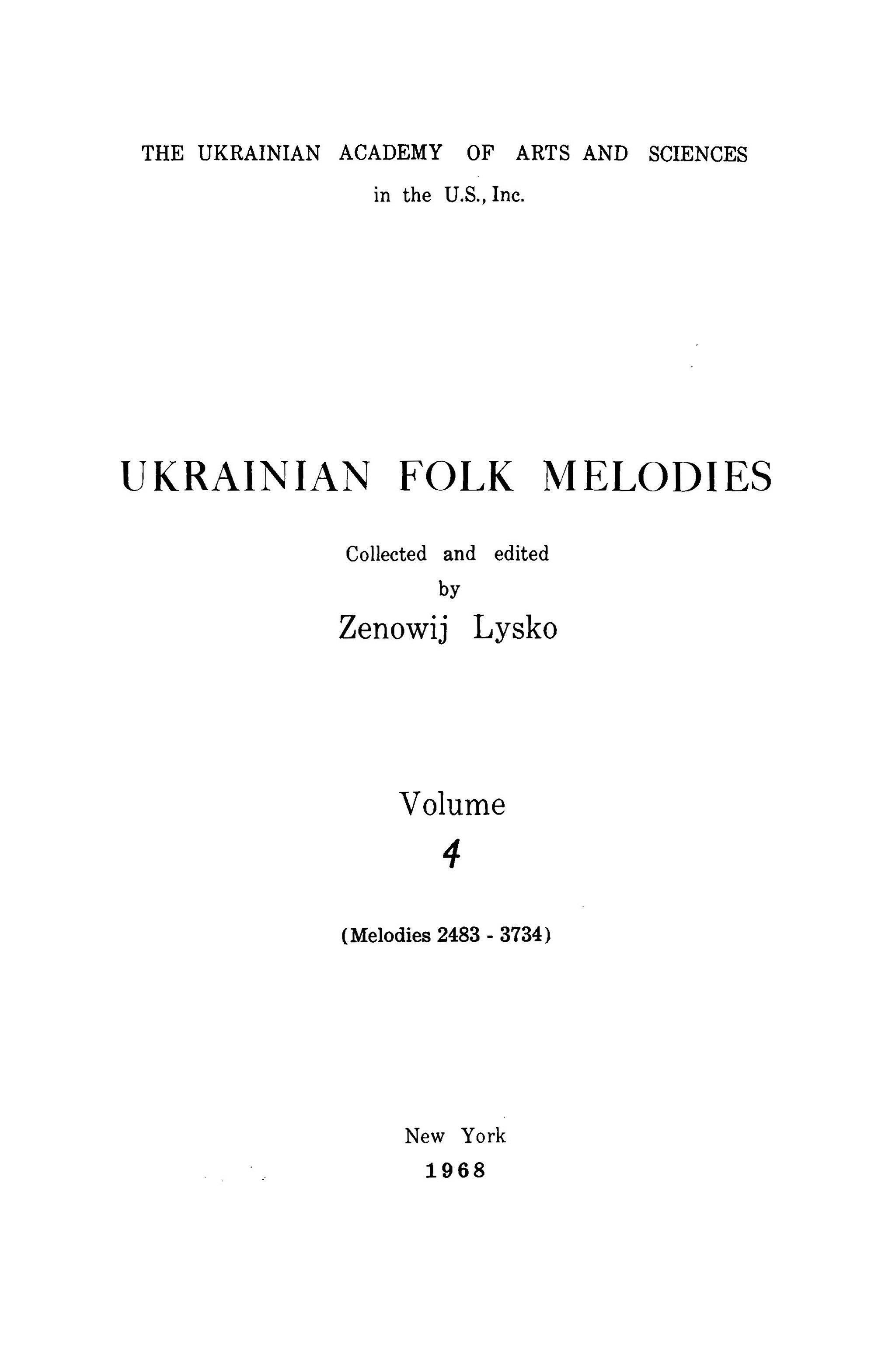 Ukrainian Folk Songs Volume 4