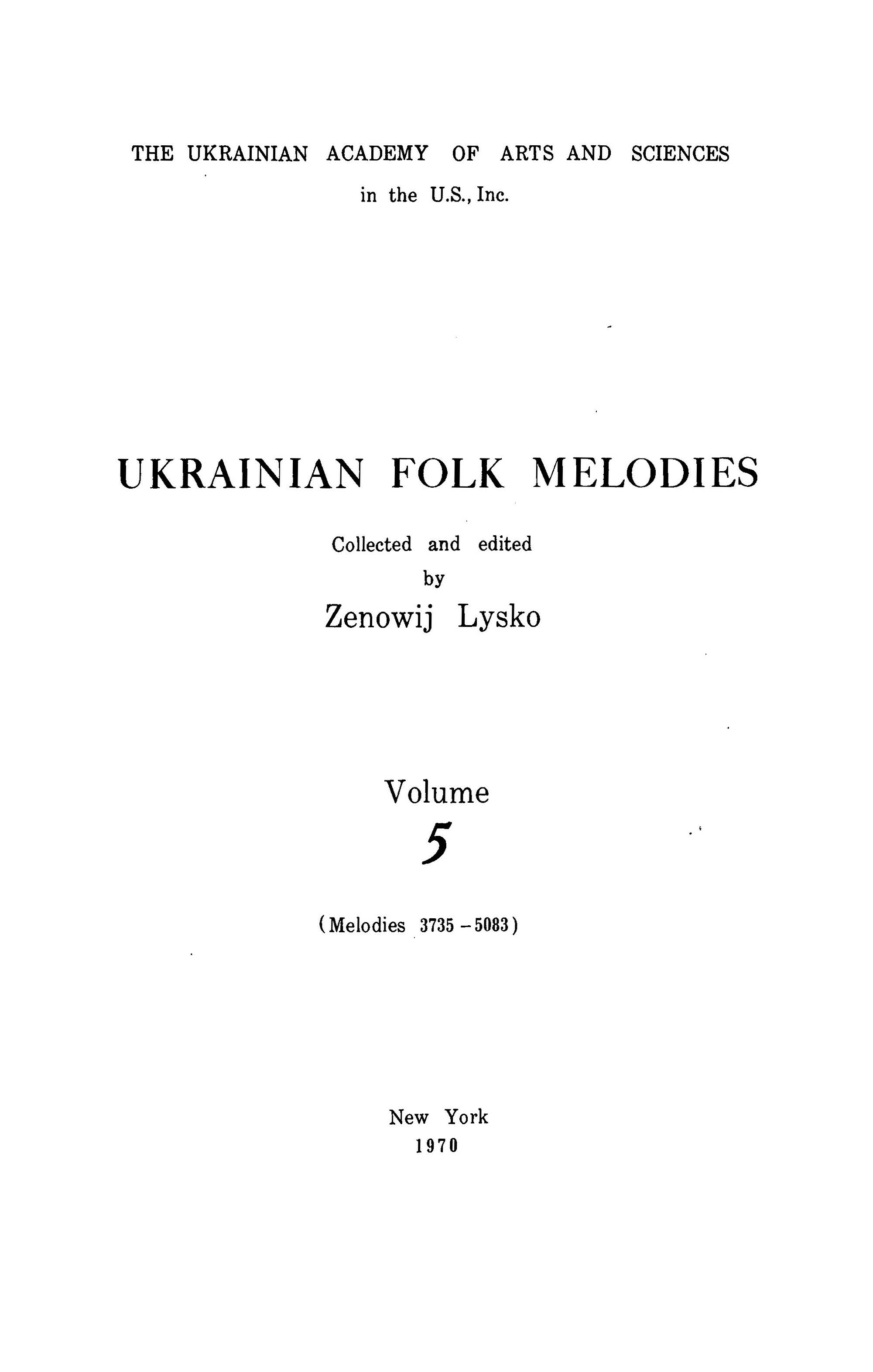 Ukrainian Folk Melodies , Vol.5